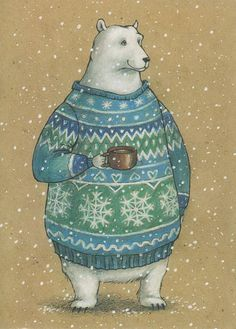 This is a print of my original watercolor illustration. Print Details: Available in or inches. Art And Illustration, Christmas Illustration, Illustrations, Watercolor Illustration, Christmas Pictures, Christmas Art, Bear Art, Winter Art, Whimsical Art