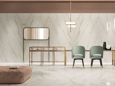 Create a captivating feature wall with the newly introduced Motif Calacatta Gold porcelain tile range. Inspired by the world's most elegant natural stones this Calacatta marble alternative is lightweight and hardwearing with the tile format Lobby Interior, Apartment Interior, Interior Architecture, Interior And Exterior, Marble Wall, Marble Tiles, Marble Floor, Calacatta Marble, Interior Decorating