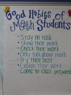 Charts for math -- good habits of math students, what is math workshop & procedures for manipulatives. I think I need to do more classroom community activities to get my math class off the the right start this year. Maybe this is a good springboard. Math Charts, Math Anchor Charts, Teaching Math, Maths, Math Teacher, Math Fractions, Multiplication Strategies, Math Manipulatives, Numeracy