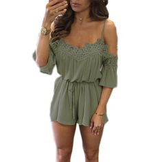 Boho Off Shoulder Lace Crochet Slim Playsuits Women Summer Strappy V Neck Jumpsuits Rompers Sexy Beach Girls Shorts Overalls