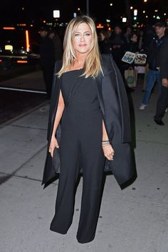 Jennifer Aniston Was So Excited to Wear This Céline Coat, She Forgot All About the Tags Jennifer Aniston Style, Celine Coat, Jeniffer Aniston, One Shoulder Jumpsuit, Designer Jumpsuits, Celebrity Look, Celeb Style, Girl Fashion, Teenager Fashion