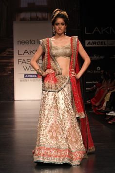 Platinum Gold & Red Lengha