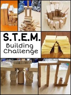 They love to create and build. For this STEM challenge, all you need are small wooden blocks. Various challenges encourage kids to create specific structure/objects. Math Activities For Kids, Steam Activities, Hands On Activities, Science For Kids, Science Ideas, Indoor Activities, Sensory Activities, Classroom Activities, Preschool Ideas