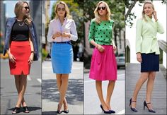 Office Wear Fashion Tips: What to Wear to Work from Formal to Casual (Part Casual Friday Office, Business Dresses, Work Attire, Office Wear, Dress Codes, Vanity Fair, Work Wear, What To Wear, High Waisted Skirt