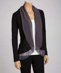 This Black Ruffle Cardigan by Panitti is perfect! #zulilyfinds