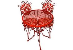 for those who cannot commit to red inside the house - take a bold stance outside the house with this clever red patio bistro set $859