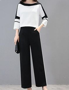 Women's Plus Size Holiday Work Street chic Sophisticated Set - Solid Colored Color Block Pant / Summer / Sexy 2020 - ₩ 52627 Street Chic, Street Style, Street Mall, Older Women Fashion, Curvy Fashion, Cheap Fashion, Fashion Top, Fashion Fall, London Fashion