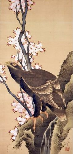 I am growing fond of this look for a full leg tattoo. KATSUSHIKA Hokusai(葛飾北斎 Japanese, Eagle and Cherry Blossoms 鷲に桜図 Japanese Ink Painting, Japan Painting, Japanese Artwork, Japanese Prints, Art Occidental, Katsushika Hokusai, Art Japonais, Monet, Japan Art