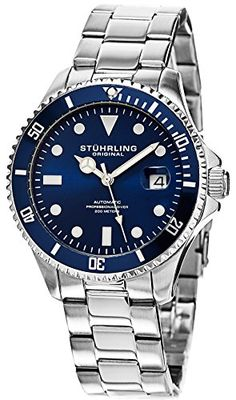 Men's Wrist Watches - Stuhrling Original Mens 79202 Aquadiver Analog Display Automatic Self Wind Silver Watch * You can find more details by visiting the image link.