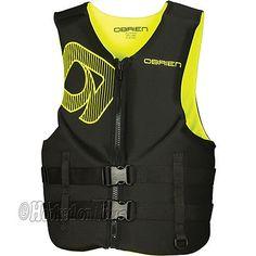 O'Brien Men's Neoprene Life Preserver Safety Vest Jacket Adult Sizes YELLOW