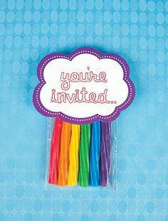 Rainbow Themed Invitations for a Rainbow Themed Party!