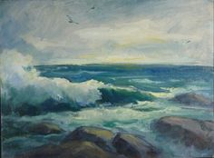 Bass Rocks Mass coast original oil painting by Carl by peterillig