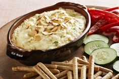 Have we got a Hot Crab Dip for you to try! Canned crabmeat, green onions and Swiss cheese are blended into cream cheese and MIRACLE WHIP for a delicious appetizer dip. Appetizer Dips, Yummy Appetizers, Appetizers For Party, Appetizer Recipes, Kraft Recipes, Almond Dip Recipe, Crockpot Recipes, Cooking Recipes, What's Cooking