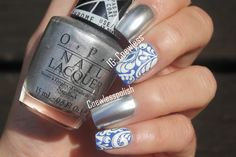 Blue and white swirls with mirror nails #nailart
