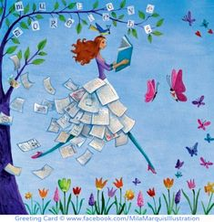 Greeting Card © Mila Marquis Illustration via her facebook page. Spring reading? Or maybe reading puts a spring in your step.