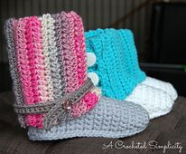 Another great pattern from A Crocheted Simplicity  - kid sized slippers to go with the adult sized pattern recently released!  Ravelry: Kid's Slouchy Slipper Boots pattern by Jennifer Pionk