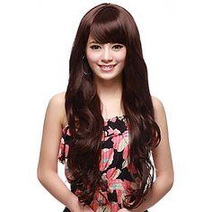 Capless Long Wave Brown de alta qualidade peruca de cabelo sintético – BRL R$ 61,58
