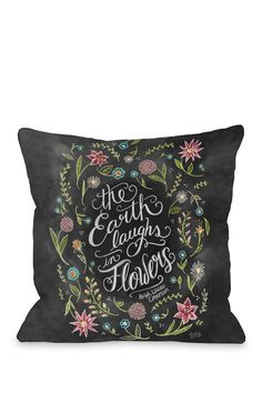 One Bella Casa | Earth Laughs Flowers Pillow - Gray/White |   Sponsored by Nordstrom Rack. ==