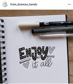 Enjoy your life Calligraphy Quotes Doodles, Doodle Quotes, Hand Lettering Quotes, Creative Lettering, Graffiti Lettering, Calligraphy Letters, Doodle Drawings, Doodle Art, Fancy Fonts