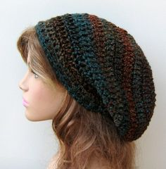 Teal Woods Tam Dread Hippie Slouchy by PurpleSageDesignz on Etsy, $23.00