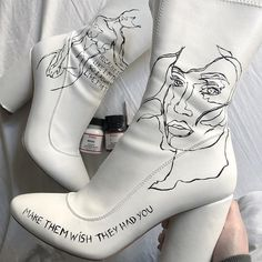 I didnt wear these heels anymore so I customized them to give them a second life 💃🏻 High Heels Boots, Shoes Heels Pumps, Aesthetic Shoes, Aesthetic Clothes, White Aesthetic, Fashion Shoes, Fashion Outfits, Womens Fashion, Sneakers Fashion
