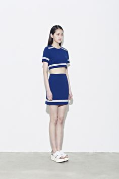 LOW CLASSIC 13 RESORT chiffon embroidery crop t - blue