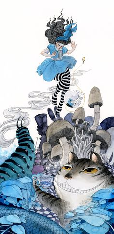 An 8 x 16 inch print of Alice in Wonderland, one of two paintings I did for a…