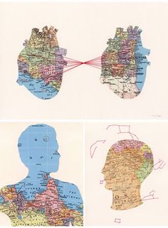 Shannon Rankin's Maps are good inspiration for collage, sewing on paper, and the study of shapes. Maps also bring up ideas of memory, travel, history/geography etc. Map Projects, Body Map, A Level Art, Gcse Art, Map Design, Heart Art, Art Plastique, Map Art, Art Sketchbook