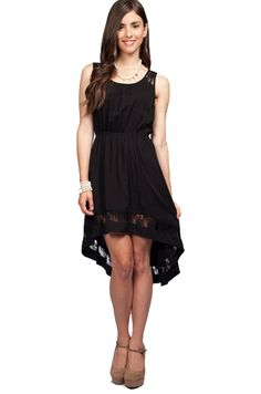 Sleeveless Black Lace High Low Dress | Limelite Boutique