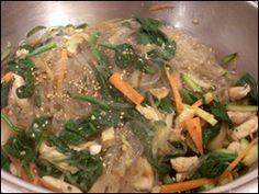 Korean: Japchae (also known as jabchae, chapchae, chop chae) is a famous noodle dish that uses the unique Korean glass noodles called dangmyeon, these are made from sweet potato starch and are available from most Asian supermarkets. This recipe is very tasty and the noodles have a very interesting texture.  FROM:  Easykoreanfood.com