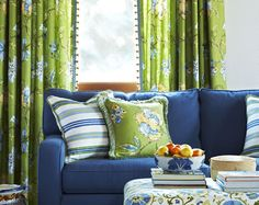 the search for the perfect blue couch color ----- navy blue sofa, lime green drapes