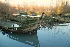 Treviso - Italy Cemetery of boats Abandoned Ship, Abandoned Boat