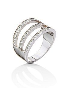 Fashionably silver three row ring