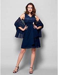 Lanting Bride® A-line Plus Size / Petite Mother of the Bride Dress - Wrap Included Knee-length Sleeveless Chiffon / Lace withLace / – USD $ 250.00