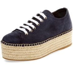 Miu Miu Women's Suede Platform Espadrille Sneaker - Blue, Size 35.5 ($429) ❤ liked on Polyvore featuring shoes, sneakers, blue, platform espadrilles, blue sneakers, platform shoes, platform espadrille sneakers and lace up espadrilles