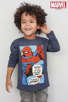 Blue Marl Long Sleeve Spider-Man™ T-Shirt (3mths-6yrs)