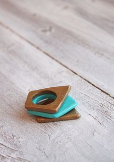 Turquoise ring stacking rings set wooden ring wood by TACEHandmade