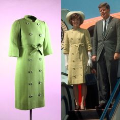 Jackie Kennedy's Pistachio Green Coat designed by Gustave Tassell. This coat was worn by First Lady Jacqueline Kennedy on her arrival at the Bogota airport in 1961.