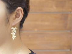 Wild Orchid Flower Earrings / long cascading flower dangle earrings, 925 sterling silver ear wires / E213