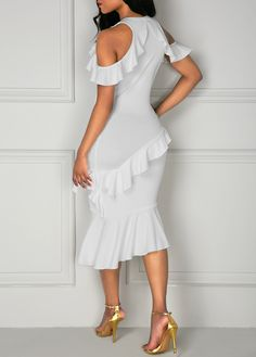 199f33b380548 Asymmetric Cold Shoulder Flouncing White Dress on sale only US 32.81 now