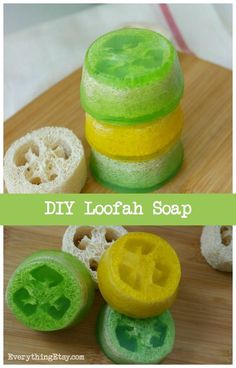 Loofah Sponge Soap Tutorial–DIY Gift Idea (Everything Etsy) Handmade Gifts For Men, Handmade Soaps, Diy Soaps, Handmade Cosmetics, Diy Soap On A Rope, Loofah Sponge, Homemade Wedding Gifts, Soap Tutorial, Homemade Soap Recipes