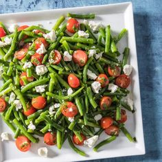 Green Bean Salad with Cherry Tomatoes and Feta | America's Test Kitchen Green Bean Salads, Green Beans And Tomatoes, Green Bean Recipes, Cherry Tomatoes, Veg Recipes, Healthy Recipes, Healthy Cooking, Salad Recipes, Healthy Food