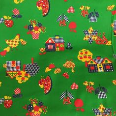 8 yd 70's VTG Heavy Cotton Fabric Bandana Apple Farm Animal Cow Chicken Juvenile #Unbranded