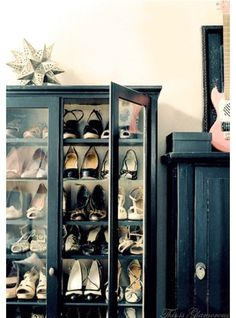 Love This Cabinet! » Rock and Roll meets Feminine Glamor, housing quite the chic collection of shoes - Glamorous Dressing Rooms.