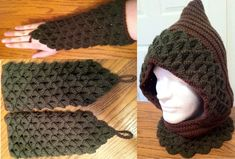 Crochet hood with matching gauntlets by Arexandria.deviantart.com on @deviantART