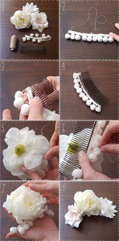 The best DIY projects & DIY ideas and tutorials: sewing, paper craft, DIY. Diy Flowers, Flowers In Hair, Fabric Flowers, Flower Hair, Diy Hair Accessories, Bridal Accessories, Cool Diy Projects, Craft Projects, Diy Fleur