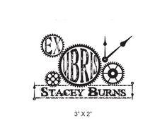 Steam Punk Clock Gears Collage  Ex Libris Custom Rubber Stamp I05. $19.99, via Etsy.