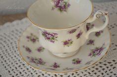Royal Albert Sweet Violets Tea cup & Saucer, Succulent Holder, Bridal or Wedding Favor, Candle Holder, Vintage Collectible