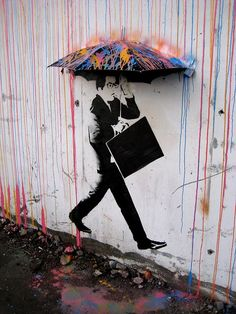 Pieces Of Street Art That Cleverly Interact With Nature - Beautiful street murals appear on roads only when it rains