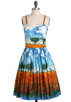 Jenna's Field Good Dress by Bernie Dexter - Blue, Party, Vintage Inspired, Fit & Flare, Long, Multi, Orange, Green, White, Print, Pockets, Spaghetti Straps